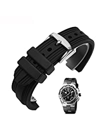 Memery Space Environmentally-Friendly Silicon Convex Strap Bvlgari Replacement 22*7mm (Black-Silver Clasp)