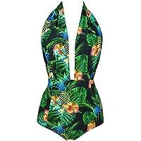 Cocoship, traje de baño de una pieza Pin Up, estilo clásico, sin espalda, cintura alta (FBA)