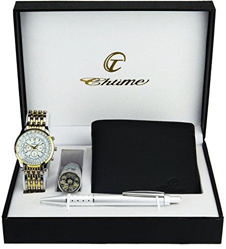 (Gift Set Men's Watch Silver Gold- LED Lamp - Wallet -Pen)