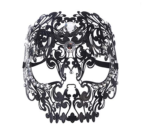 Ball Mask Metal Openwork Diamond Tiger Head Mask Prom Half Face Mask Mask Exquisite High-End Halloween Half Face Masquerade Party Diamond,Black -