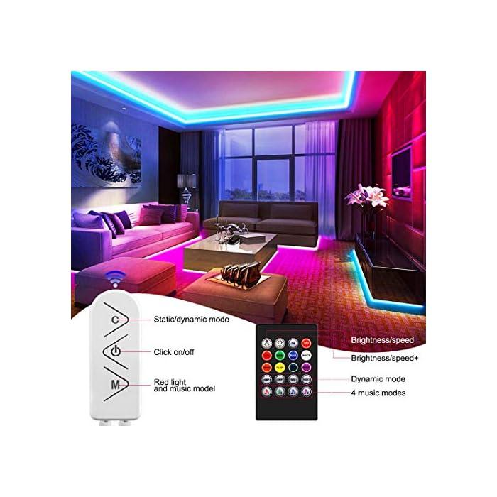 51nBCrBATXL Tira de luces LED SMD5050 que cambian de color de 15 m con sincronización de música que cambia de color + controlador Bluetooth + luces LED remotas para recámara, fiesta y decoración del hogar controlada por APP