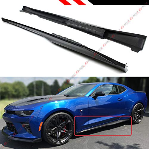 Fits for 2016-2019 Chevy Camaro LT SS RS Matt Black Finish ZL1 Style Side Skirt Rocker Panel Extension