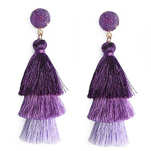 Purple Tiered Tassel Earrings Lavender Layered Thread Tassel Earrings Fashion Tassels Dangle Drop Colorful Earrings Gift for Women Girls ()