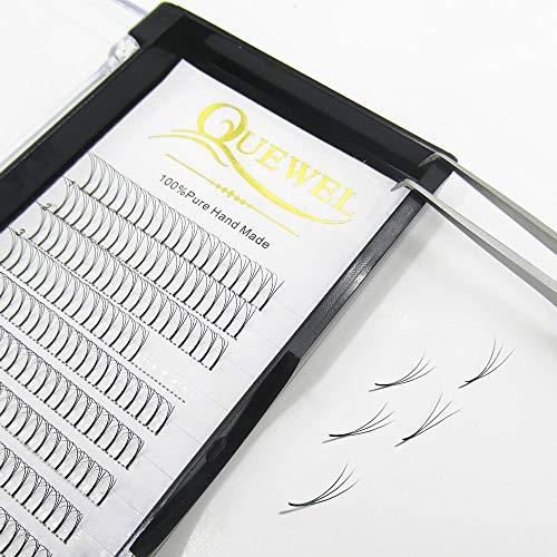 Quewel Lash Russian Volume Eyelash Extensions 3D 4D 5D 6D C D Curl 8-15mm Long Thickness 0.07/0.10 mm Premade Fans Volume Eyelashes Soft (3D-0.07-C, 14mm)