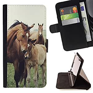 For HTC One M7 Horse Cub Nature Foal Animal Summer Style PU Leather Case Wallet Flip Stand Flap Closure Cover