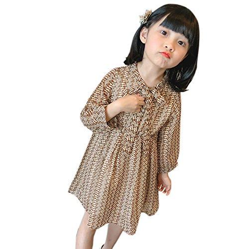 XIU*RONG Las Niñas Visten Manga Larga Chiffon Floral Falda Princesa Khaki