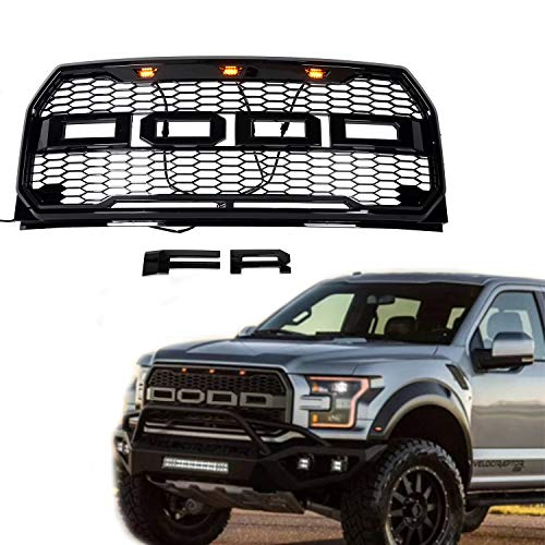 Front Black Bumper Hood Mesh Grille Replacement Raptor Style Grill Kit For Ford F-150 2015 2016 2017 (With letters F & R)