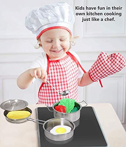 Lolitarcrafts Cucina Fai Finta di Giocare con pentole in Acciaio Inox Pentole e padelle Set per Bambini Bambini Piccoli Ragazze Ragazzi