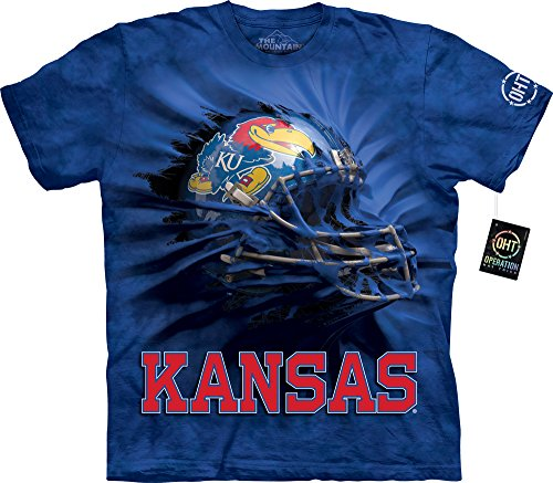 The Mountain Men's U of Kansas Uk Brkthru Helmet Adult T-Shirt, Blue,