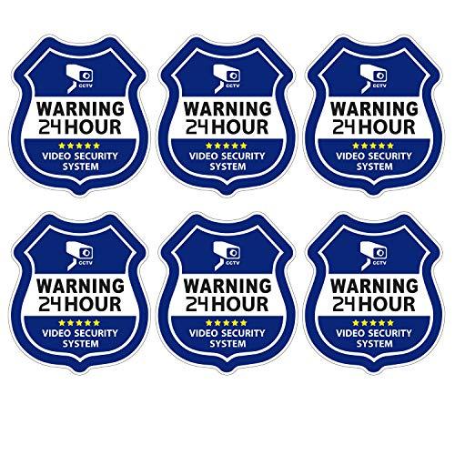 Homework2 CCTV Video Surveillance Security Door & Window Stickers, Security Shaped, Vinyl Decals - Indoor & Outdoor Use, UV Protected & Waterproof 3.5 X 3Inch - 6 Labels