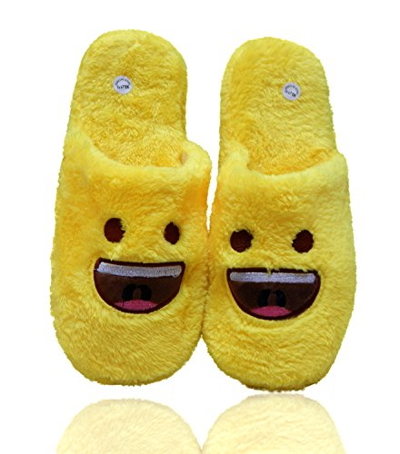Beaute Fashion Emoji Ultra-Soft Women's Plush Slip-On Scuffs Slippers Cozy Non-Skid Slippers - Wink, Halo, Smiley Face, Grimace Great For Gifts (Medium (7-8), Smile) (Gifts Smiley Face)