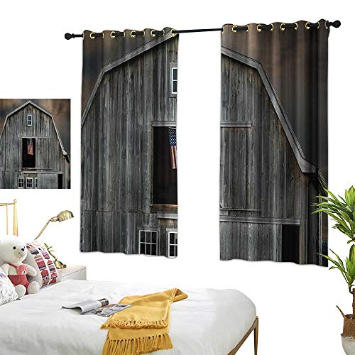 Collection Farmhouse American Bedroom - Warm Family Thermal Insulated Drapes for Kitchen/Bedroom Farmhouse Decor Collection American Flag Flying in a Hayloft Window Wooden Old House Dark Evening View Noise Reducing 63