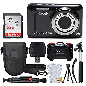Kodak PIXPRO FZ53 Digital Camera (Black) + 32GB Memory Card + Deluxe Point and Shoot Camera Case + Extendable Monopod + Lens Cleaning Pen + LCD Screen Protectors + Table Top Tripod – Ultimate Bundle