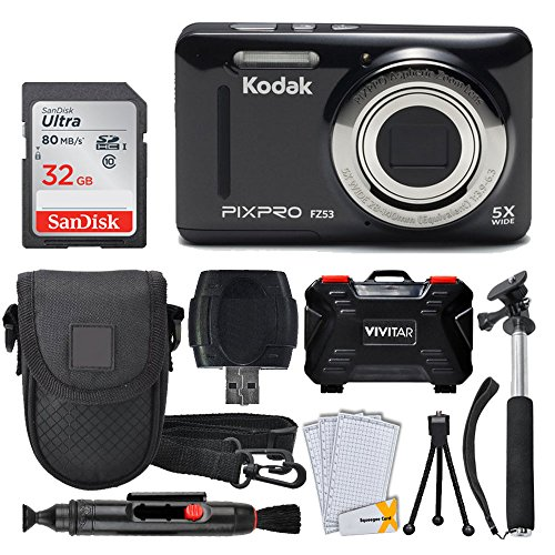 Kodak PIXPRO FZ53 Digital Camera (Black) + 32GB Memory Card + Deluxe Point and Shoot Camera Case + Extendable Monopod + Lens Cleaning Pen + LCD Screen Protectors + Table Top Tripod - Ultimate Bundle ()