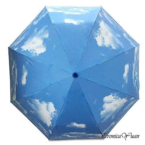 Travel Umbrella - Collapsible Rain and Sun Umbrella, 9.4 inch Super Compact, 8 Rib Strong Enough Windproof Frame, Anti UV, Lightweight (Sky/Black)