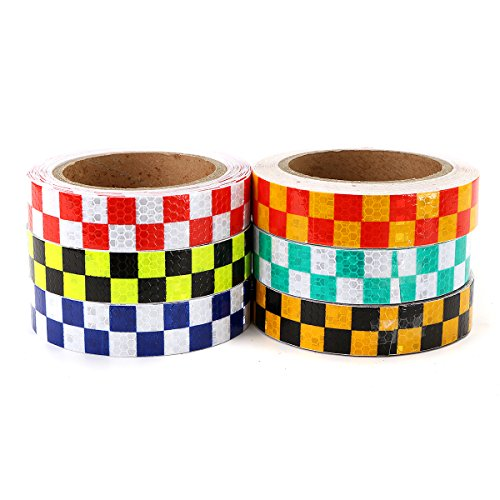Motorcycle Decals - 25mm10m Warning Caution Reflective Sticker Dual Color Chequer Roll Signal - Motorcycle Warning Stickers Grid Guard Traffic Film - Military Reflective - (Watch The First Halloween Movie Online)