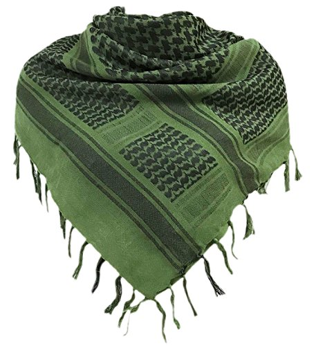Military Shemagh Tactical Desert 100% Cotton Keffiyeh Scarf Wrap, Green, One size