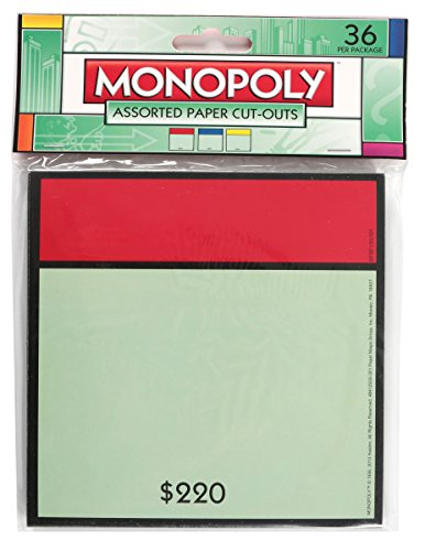 Eureka Monopoly Assorted Paper Cut-Outs, 12 Each of 3 Different Designs, 36-Pieces
