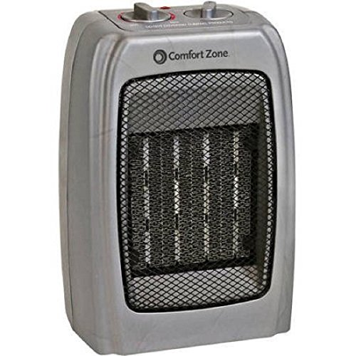 Best Price! Powerful and Compact Ceramic Heater with Adjustable Thermostat (Silver)