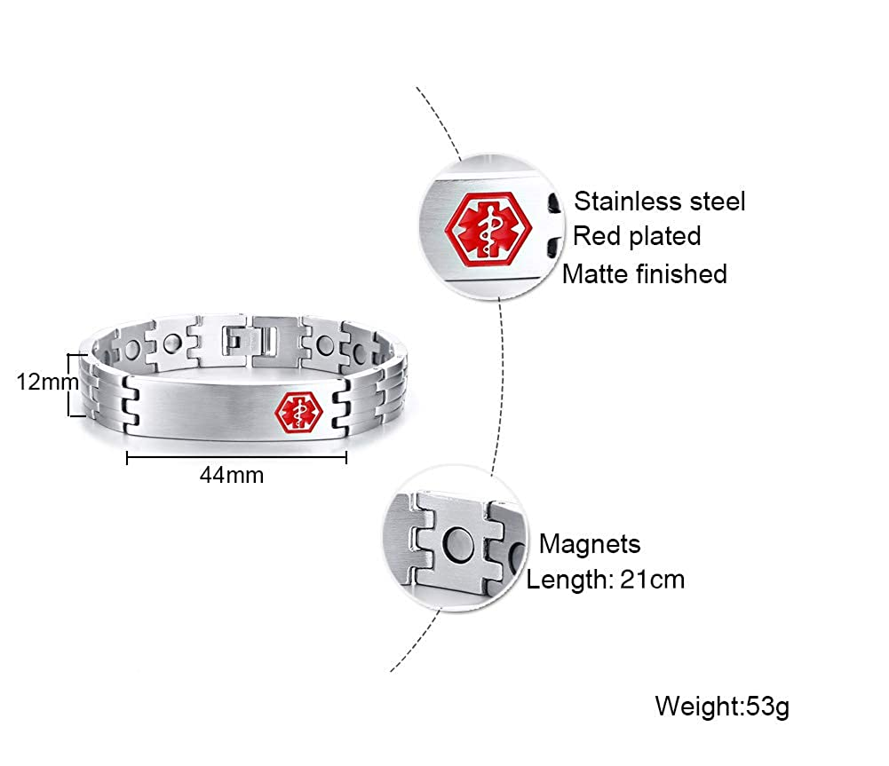LMXXV Custom Engraving 12MM Size Adjustables Stainless Steel Medical Alert ID Bracelet with Magnetic Therapy