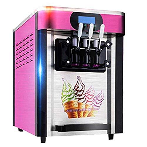 Enshey Commercial Ice Cream Machine 20L/H Food Grade 304 Stainless Steel 3 Flavor Soft Ice Cream Dessert Maker 110V / 60Hz Small Desktop 2000W Digital Display Low Power Ice Cream Making Machine