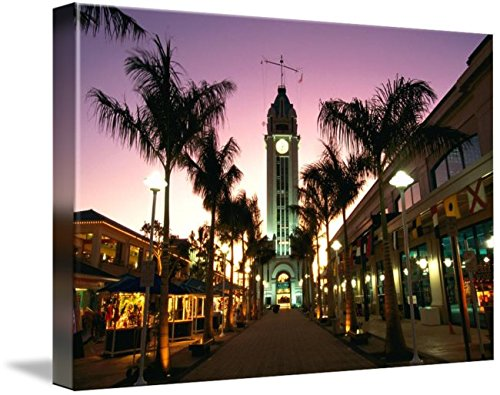 Wall Art Print entitled Hawaii, Oahu, View Of Aloha Tower Marketplace At D by Design Pics | 48 x - Marketplace Oahu
