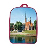 iPrint Children's knapsack Customizable,Cityscape,Old Town Day Time Landscape Historical Church by The River European Culture Deco,Multi,Picture Print Design.