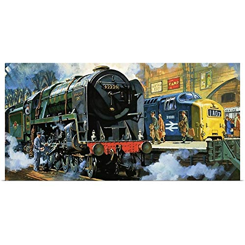 GREATBIGCANVAS Poster Print Entitled Evening Star, The Last steam Locomotive and The New Diesel-Electric Deltic by Harry Green 60