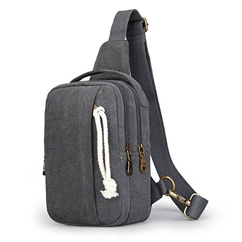 BULAGE Paket Paket Brustbeutel Einfach Stilvoll Entspannt Schulter Männer Messenger Leinwand Abriebfest Langlebig Wild LightGray