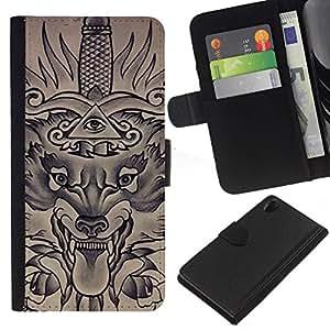All Phone Most Case / Oferta Especial Cáscara Funda de cuero Monedero Cubierta de proteccion Caso / Wallet Case for Sony Xperia Z2 D6502 // Freemasons Eye Pyramid Sword
