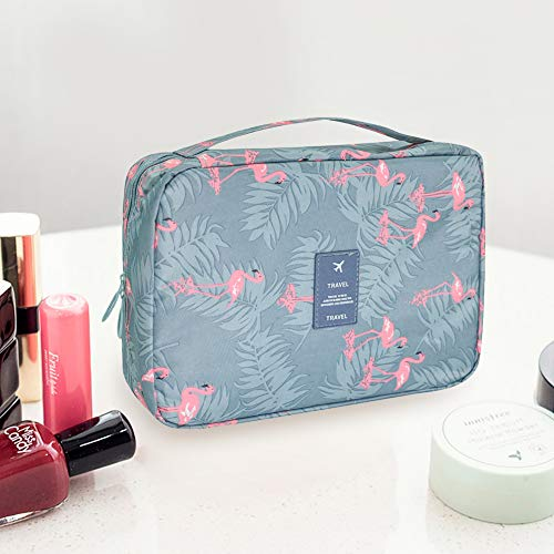 AIDIAN Toiletry Bag Travel Makeup Organizer with Sturdy Hook Water-resistant for Accessories, Full Sized Container, Toiletries Brushes Blue Flamingo