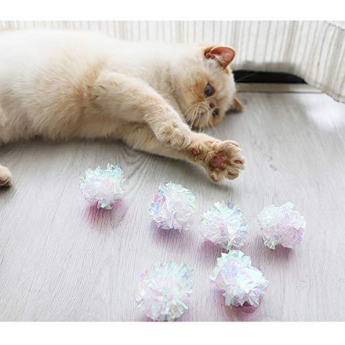 Yangbaga Dye Free Crinkle Cat Toys Balls, 2x1.4x1.2in Lightweight, 20 PCS 5