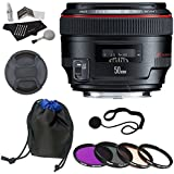 Canon EF 50mm f/1.2 L USM Lens + Polaroid Optics 72mm 4 Piece Filter Set (UV, CPL, FLD, WARMING) + Bower Lens Pouch + Polaroid Cleaning Kit + Polaroid Lens Cap & Strap