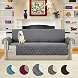 H.VERSAILTEX Luxurious Reversible Quilted Furniture Protector, Stay in Place with Adjusts Straps Microfiber Soft and Water-repellent (Sofa: Grey/Beige)-75'' X 110''