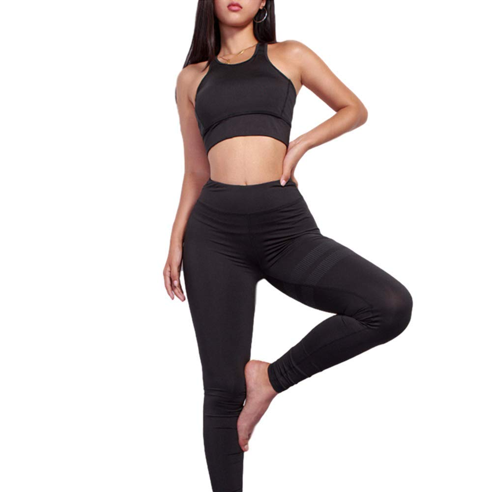 TALLA M. Chickwin Yoga Conjunto de Mujer, Mujeres Chaleco Deportivo Top and Leggings Gimnasio Ropa Chándal Yoga