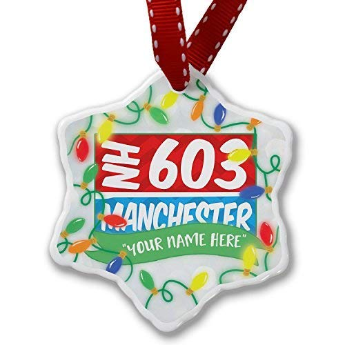 603 Manchester, Nh Red/Blue Personailzed Christmas Ornaments Ceramic Christmas Tree Hanging Decorations (Manchester Christmas Nh)