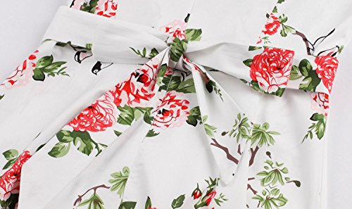 Aecibzo Robe Pique-nique Vintage Des Années 1950 Fête Florale Jardin De Printemps Robe De Cocktail De Fête Blanc Floral
