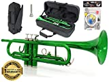 D'Luca 500GR 500 Series Standard Bb Trumpet with Professional Case, Cleaning Kit, Green