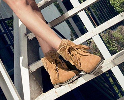 KUKI Spitze Boden groß niedrigen khaki Studenten Absatz Mode Stiefel flachen wild Damenstiefel Damenschuhe cotton Baumwollstiefel rq0ar1p