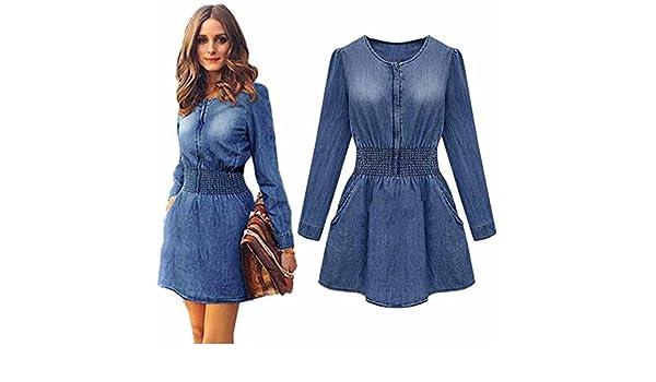 Vestido de mujer, Amlaiworld Vintage Spring Mujer Slim de manga larga casual Denim Jeans Mini Vestido De Fiesta Azul como se muestra en la imagen (as show) ...