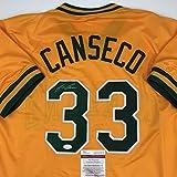 Autographed/Signed Jose Canseco Oakland Yellow Baseball Jersey JSA COA