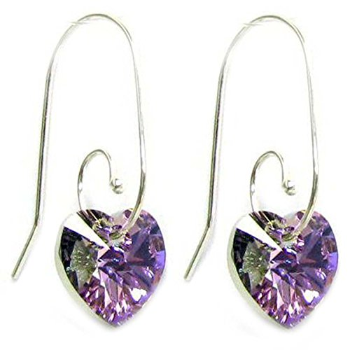 Sterling Silver Swirl Hook Swarovski Elements Vitrail Light Heart Drop Earrings (Earrings Swirl Purple)