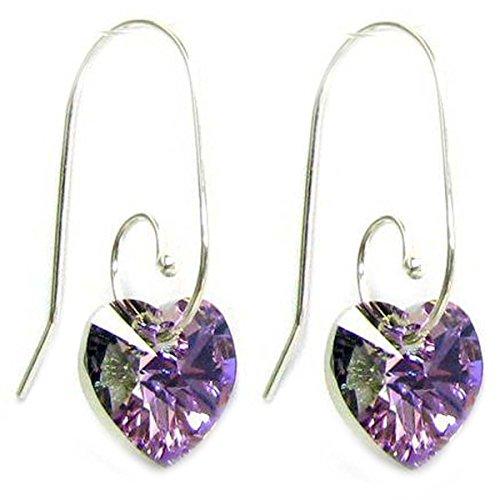 - Sterling Silver Swirl Hook Swarovski Elements Vitrail Light Heart Drop Earrings