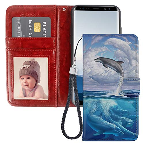 - Dolphin Cloud Samsung Galaxy Note 8 Wallet Phone Case, JQLOVE PU Leather Flip Magnetic Clasp Multi Card Slot with Stand Holder Cover Wallet Case for Samsung Galaxy Note 8
