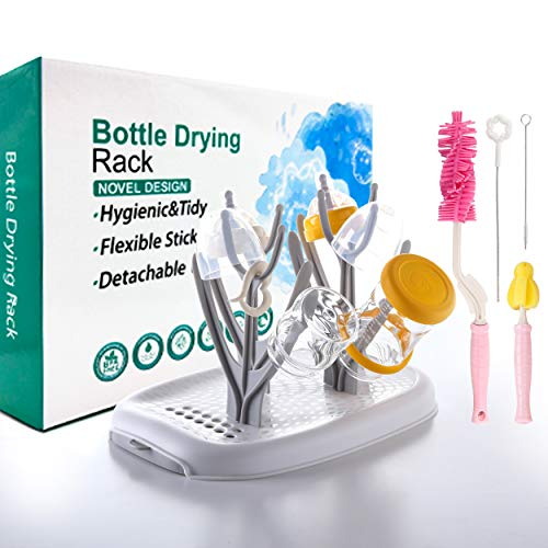 IKARE Baby Bottle Drying Rack, w/Silicone Bottle Brush, Straw Brush, Nipple Brush, Dryer Holder w/Drainer Board for Baby Bottles, Teats, Cups and Accessories