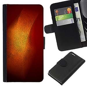 KingStore / Leather Etui en cuir / Apple Iphone 5C / Oro Brillante Brillo Naranja Pastel