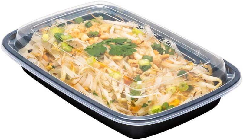 Asporto Microwavable To-Go Container - BPA Free PP Rectangular Take Out Food Container with Clear Plastic Lid - Catering & Takeout - 16 oz - Black - Plastic - Disposable - 100ct Box - Restaurantware
