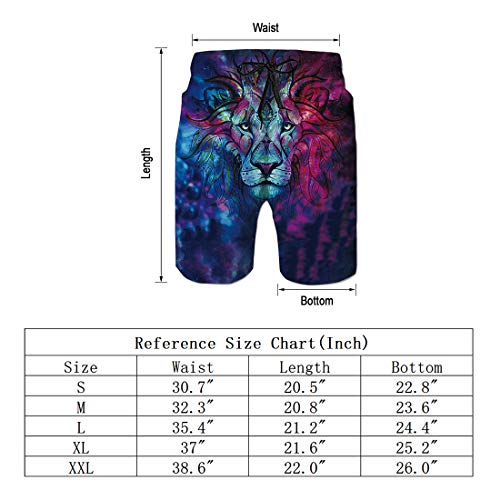 SKYRAINBOW Mens Swimwear Medium Length Summer Drawstring Beach Shorts 3D Colorful Lion Surfing Trunks with Mesh Lining Grey Purple