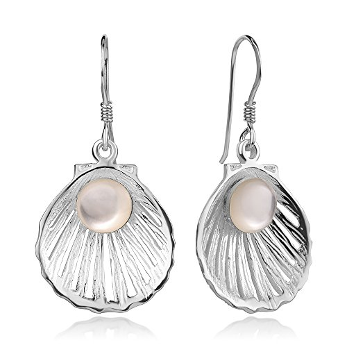 925 Sterling Silver Natural White Mother of Pearl Seashell w/Pearl Design Dangle Earrings (White Mother Of Pearl Seashell)
