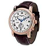 Jorg Gray JG7200-12 Round Watch with Burgundy Italian Crocodile Leather Strap with Contrast Stitchingwith Steel buckle